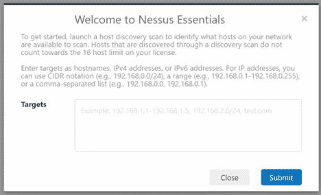 Nessus scan window
